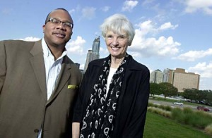 United we stand: Executive director of the Austin Circle of Theaters Latifah Taormina (r) and attorney Randy Houston (l) Photo by John Anderson. Credit Austin Chronicle.